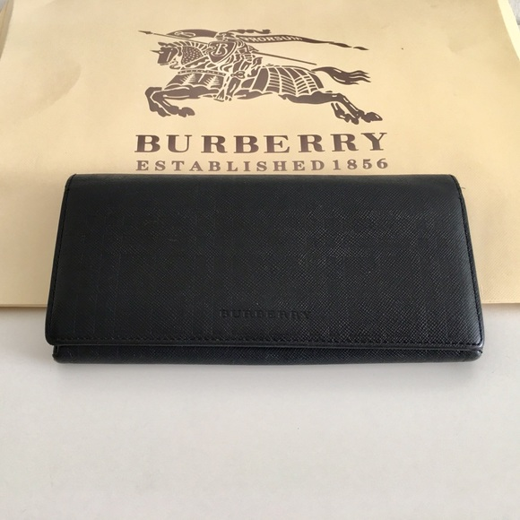 Burberry Handbags - Authentic Burberry Long Black Leather wallet